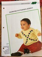 Baby knitting patterns.jumpers.diamond pattern.size 18-22 inch chest.DK yarn.