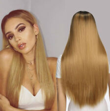 Synthetic Long Straight Hair Ombre Blonde Dark Root Wig for Women Party Wigs Hot