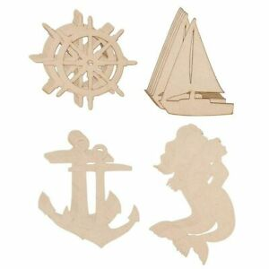24-Pack Unfinished Wooden Cutouts, Ship's Wheel, Yacht, Anchor, Mermaid Shapes
