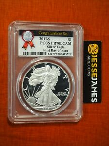 2017 S PROOF SILVER EAGLE PCGS PR70 FIRST DAY OF ISSUE FROM CONGRATULATIONS SET