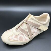 Coach Womens Leather Karra Slip On Sneakers Shoes Hook And Loop Tan Size 8 M