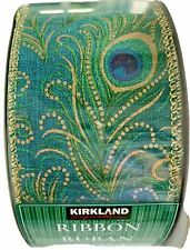 """Kirkland Wire Edged Ribbon No Seams 2.5""""x 50 Yds Green/Blue Peacock-Double Sided"""