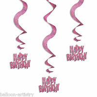 6 Pink Glitz Happy Birthday Party Hanging Holographic Swirls Decorations