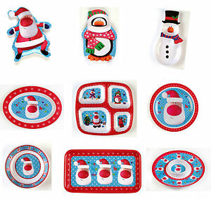 Christmas Party Melamine Christmas Tableware Platter Bowls Serving Plates Trays