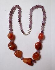 Gorgeous Chunky Orange Agate & Amethyst Bead Necklace 19""