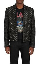New Men Full Black Silver Studded Quilted Unique Punk Cowhide Leather Biker Coat
