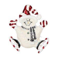 *UK* CHRISTMAS ICE SKATING SNOWMAN SILVER BROOCH PIN SANTA HAT FATHER SKATES