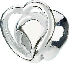 AUTHENTIC CHAMILIA 925 STERING SILVER ETERNITY HEART BEAD GA-121 LOVE CHARM NEW
