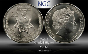 2017 AUSTRALIA 20 CENTS STARS OF GALLANTRY NGC MS 66 ONLY 1 GRADED HIGHER #B