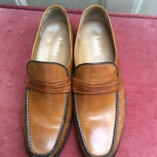 LOAKE MENS TAN LEATHER LOAFERS MOCCASINS SLIP ON SHOES SIZE 7.5