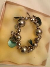 Silver and Greens. Chunky fashion bracelet ,