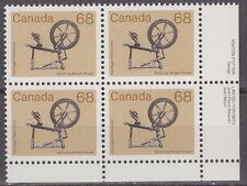 "CANADA #933 68¢ Artifacts ""Spinning Wheel"" LR Inscription Block MNH"
