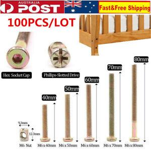 100Pcs Furniture Bolt Crib Screws With Barrel Nuts Dowel Nut Connector Fastener