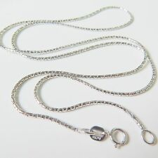 """19.6"""" Authentic 18k White Gold Necklace Women Men 1mm Lucky Special Chain 2.3-3g"""