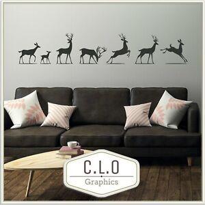 Reindeer Vinyl Wall Sticker Art Transfer Jumping Deer Decor Decal Graphic Mural
