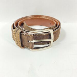J HILBURN Men's Brown Suede Stitching Belt Brass  Buckle USA 42 Made In England