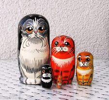 5 Katzen als  Matroschka Steckpuppe Schachtelpuppe 11 cm - NEU