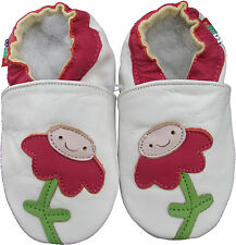 soft sole leather baby shoes flower white 12-18m S