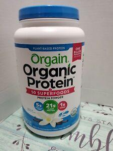 Orgain Organic Plant Based Protein +Superfoods Powder, Vanilla Bean-Vegan 2.7lb