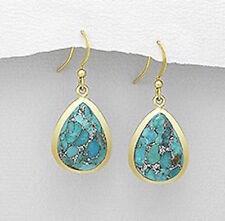 "1.4"" VERMEIL Copper Turquoise Dangle Earrings 7.3g RARE BEAUTIES"