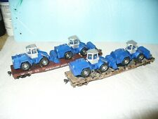 2-ATHEARN HO '50 Flat Cars with 2-Tractor Loads'-KD's-C&O + West. Maryland-VG!
