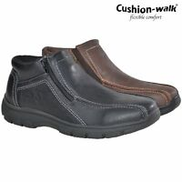 MENS CUSHION WALK ZIP WIDE COMFORT LINNING CASUAL WALKING DRIVING SHOES BOOTS SZ