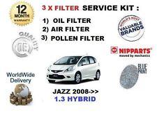 PARA Honda Jazz 1.3 hybrid 2008- > NUEVO Aire Aceite Pollen 3