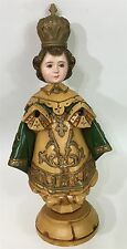 LARGE Vtg Religious Realistic Carved Wood Russian Icon Painted Art Statue