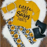 2pcs Toddler Kid Baby Girl Outfits Long Sleeve T-shirt Tops+Floral Pants Clothes