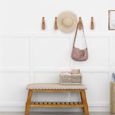 2Pcs Wooden Wall Mounted Coat Hooks Rack Hat Bag Clothes Hanging Hanger Holder