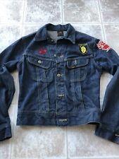 Vtg Lee Riders jeans Blue Denim Jacket Union Made sz 34 Usa Dark Patched