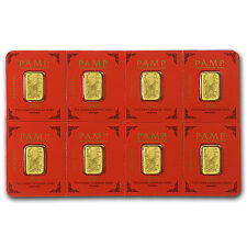 8x1 gram Gold Bar PAMP Suisse Lunar Monkey Multigram+8 (In Assay) - SKU #96833