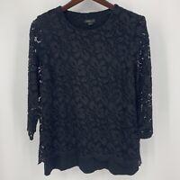 J JILL Wearever Top Black Lace 3/4 Sleeve Floral Lined Stretch Womens Medium