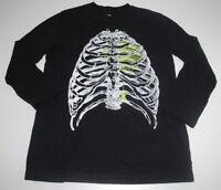 Halloween Shirt Boys Medium M 8/10 Black Long Sleeve T-Shirt Glow Dark Graphic