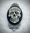 Sugar Skull Cameo Brooch Pin, Day Of The Dead Hat Pin, Painted, Gothic Halloween