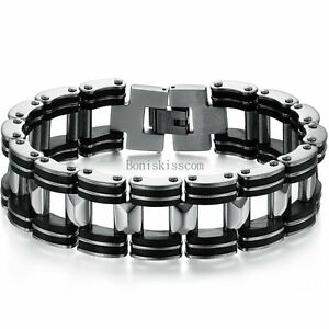 Silver Stainless Steel Biker Motorcycle Chain Black Rubber Link Bracelet for Men