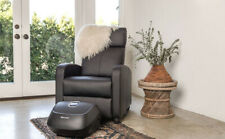 Slim Recliner Chair Seat Black PU Leather Living Room Bedroom Furniture Small Rv