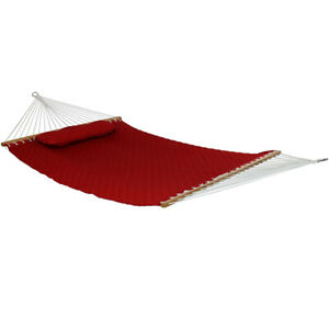 Sunnydaze 2-Person Quilted Spreader Bar Hammock Bed with Detachable Pillow - Red