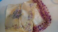 Irish Linen Purple Crochet Edge + Purple Rose Pattern Vntg Hankies: Lot of 2