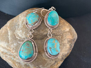 Amazing Handmade Navajo Royston TURQUOISE Sterling Silver Dangle Earrings Gif580