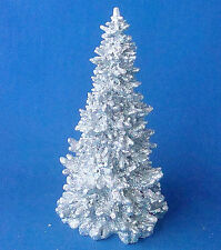 "Silver glittered Christmas Heritage Dickens Village Pine Tree 7¼"" resin"