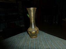 Vintage HELLENIC POP ART Glass Vase W/24K Gold Plate Wire Art Filigree Greece VG