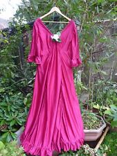 VINTAGE 1970s DEEP RED MAXI PARTY DRESS - SIZE 20, 22 OR 24 - VERY VERY LONG 60""