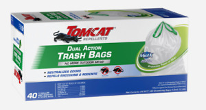 Tomcat MINT-X Dual-Action TRASH BAGS 13 Gal 40pk WHITE Raccoon Rodent Neutralize