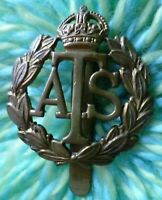 ATS Auxiliary Territorial Service Cap Badge KC Slider BRASS ANTIQUE Org
