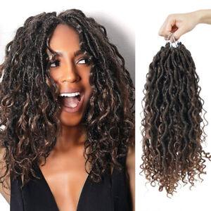 "14"" Ombre Curly Goddess Faux Locs Afro Curls Crochet Twist Braids Hair Extension"