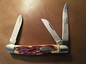 Winchester 3 three Blade, Bone Handle Pocket Knife Used Look at pictures.  Nice