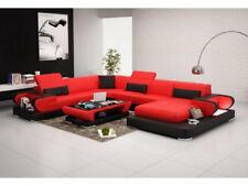 Ledersofa Polster Sitz Couch Garnitur Ecksofa Sofa Couch Wohnlandschaft  Detmold