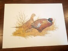 James M. Needham Ring-Necked Pheasants Limited Edition Lithograph Print & Signed