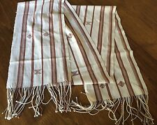 """Handwoven TABLE RUNNER 100% cotton homespun ethnic 98""""x10"""", fringed Tan/white"""